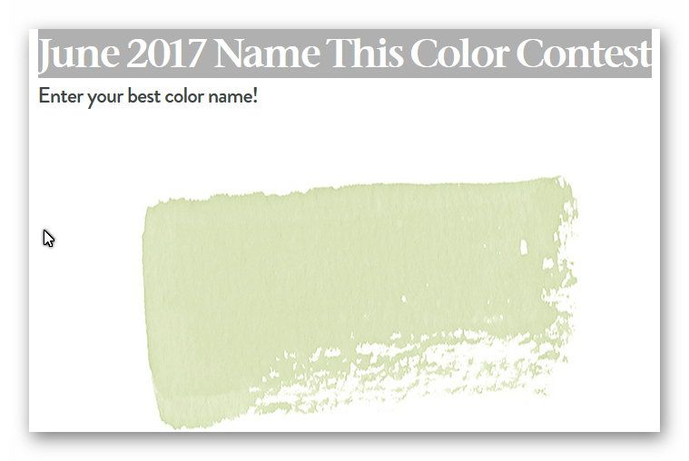 House Beautiful June 2017 Name This Color Contest