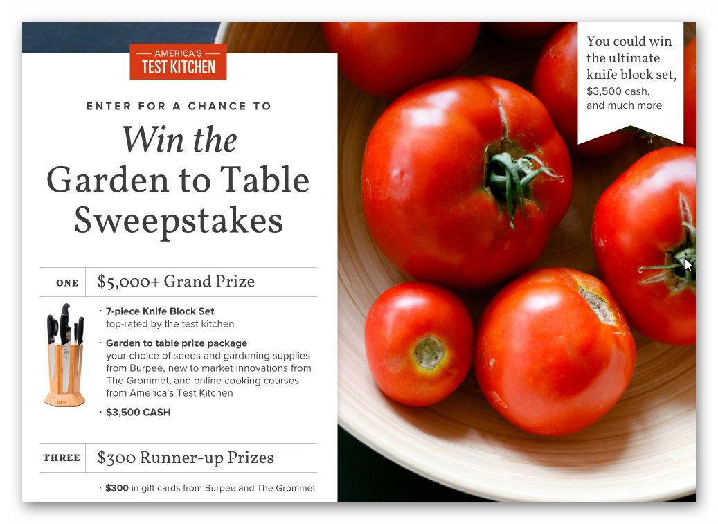 Garden to Table Sweepstakes