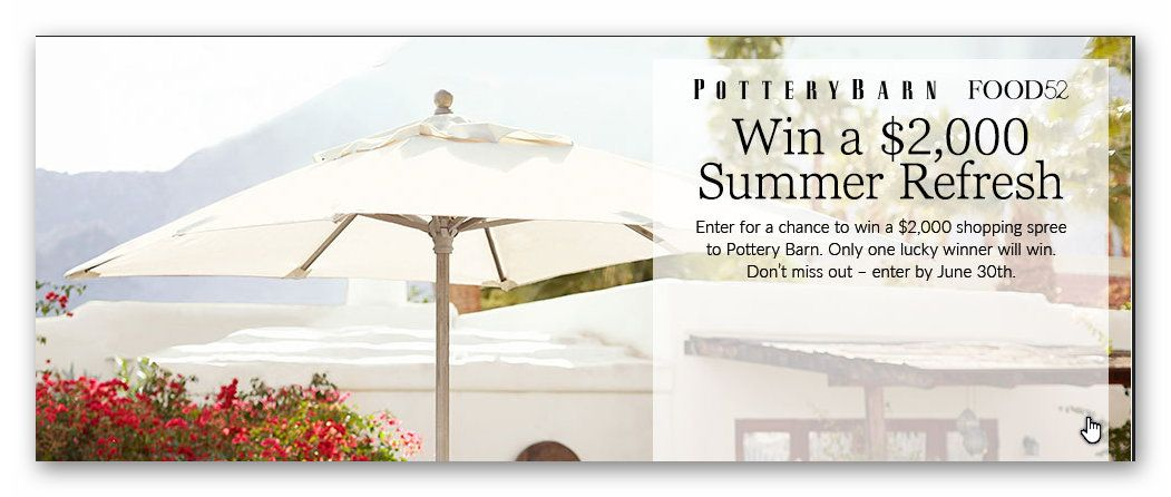 Pottery Barn FOOD52 Win a $2,000 Shopping Spree