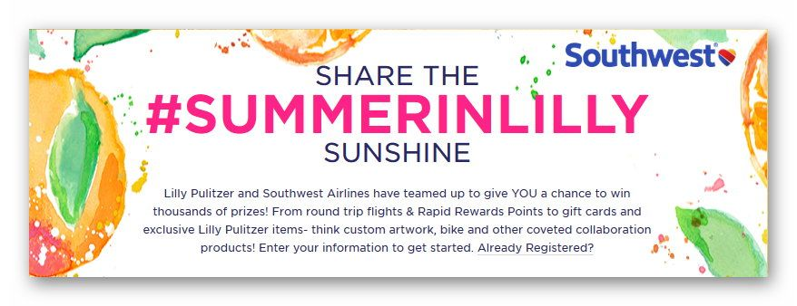 Share the #SummerInLilly Sunshine Instant Win Sweepstakes