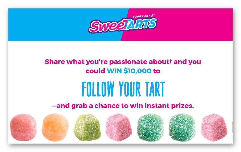Sweetarts Follow your Tart Sweepstakes (272 instant winners)