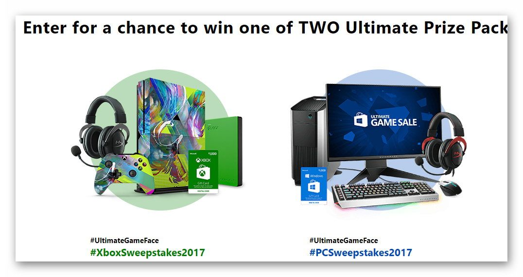 Microsoft Ultimate Game Face Sweepstakes