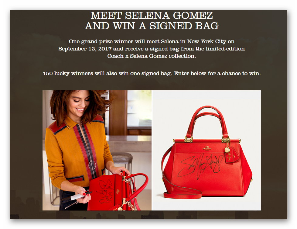 Meet Selena Gomez and Win a Signed Coach Purse