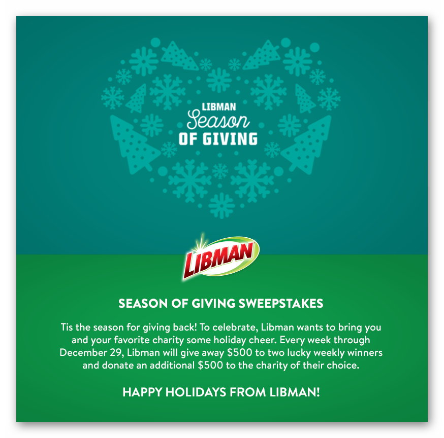 Libman Season of Giving Sweepstakes