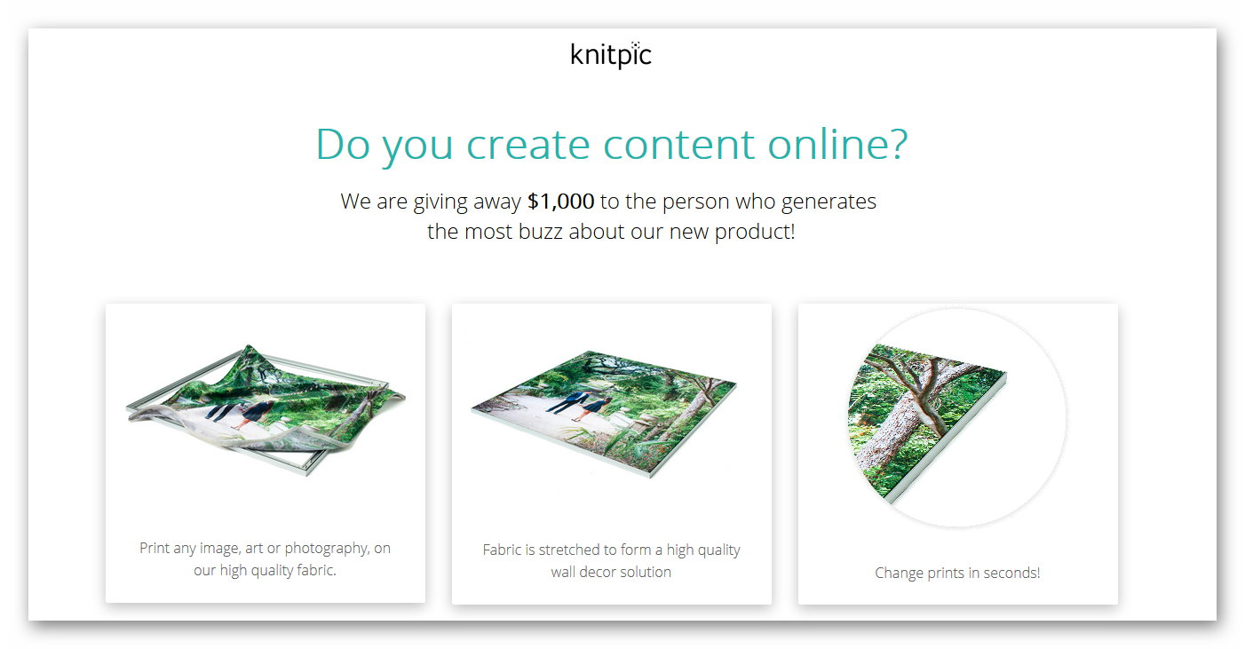 Win $1,000 by Driving Traffic to Knitpic Website