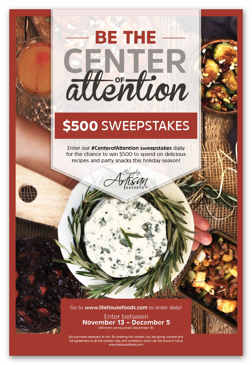 Litehouse Foods #CenterofAttention Sweepstakes