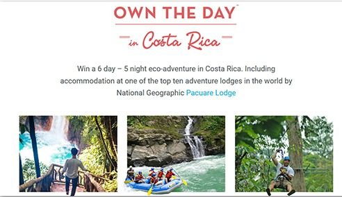 Win a 6 day 5 Night Eco-Adventure in Costa Rica for Two