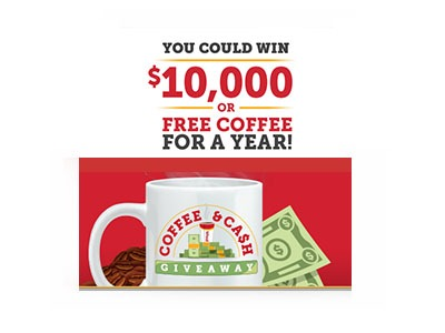 Win $10,000 Cash or Free Coffee for a Year