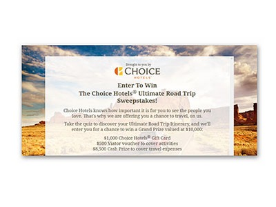 Choice Hotels Ultimate Road Trip Sweepstakes