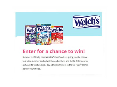 Welch's Snacks Six Flags Sweepstakes