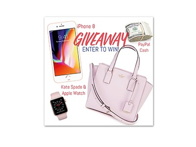 Winner's Choice iPhone 8, Kate Spade bag and Apple Watch, or $600 PP Cash