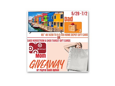 "Win your choice of a 65"" TV, Gift Cards, or $600 Cash Giveaway"