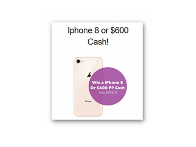Win a iPhone 8 or $600 Cash