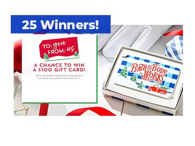 Bath & Body Works Santa's Gift Card Giveaway