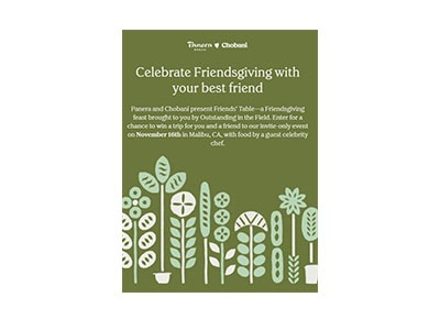 Chobani Panera Friendsgiving Sweepstakes
