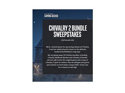 Intel Chivalry 2 Bundle Sweepstakes