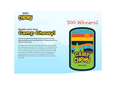 Quaker Camp Chewy Sweepstakes