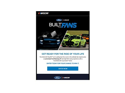 Ford NASCAR Built for Fans Sweepstakes