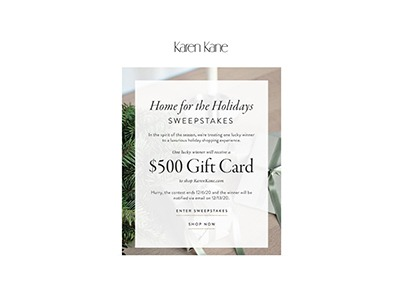 Karen Kane Home for the Holidays Sweepstakes