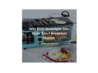 Win a Nostalgia '50s-Style Breakfast Station and $500 Visa Gift Card